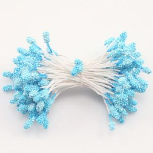 Flower stamen, blue, 100  pieces (approximate), 6cm, (ST595)